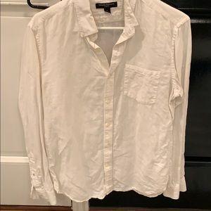 White linen cotton  banana republic men's shirt
